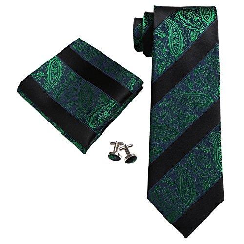 Landisun Paisley Mens SILK Tie Set: Necktie+Hanky+Cufflinks 18E14 Green Black,