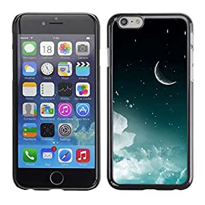 PC/Aluminum Funda Carcasa protectora para Apple Iphone 6 Moon Crescent Night Sky Stars Clouds Space / JUSTGO PHONE PROTECTOR
