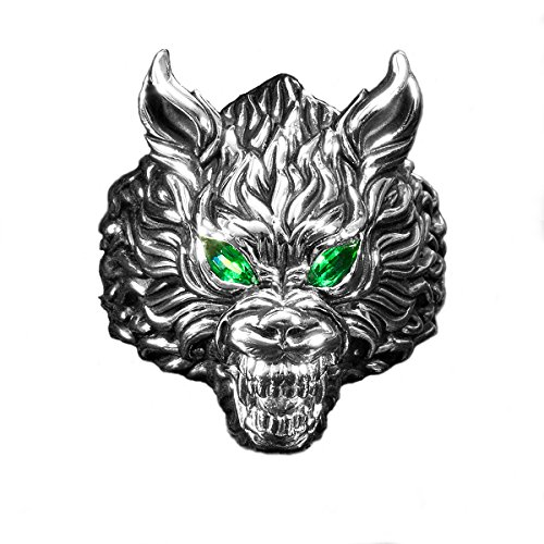 (Ecks Green Eyed Wolf Head Sterling Silver Mens Wolf Ring-Size 11)
