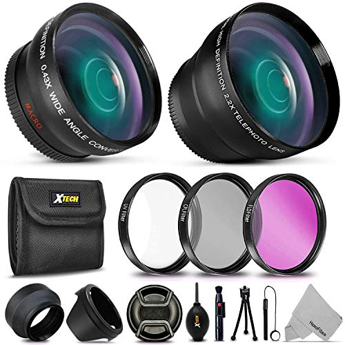 Essential 58mm Accessory Kit for Canon EOS Rebel T7i T7 T6i T6S T6 T5i T5 T3i SL2 SL1 EOS 80D 77D 70D 60D EOS 9000D 800D 760D 750D 700D 1300D 1200D DSLR Cameras with 2X Telephoto/Wide Angle Lenses (Canon Eos Rebel Xti Lens)