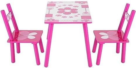 Juego de mesa de madera para niños, mesa de estudio y 2 sillas para niños, para dibujar, juego de niños, mesa de dibujo: Amazon.es: Juguetes y juegos