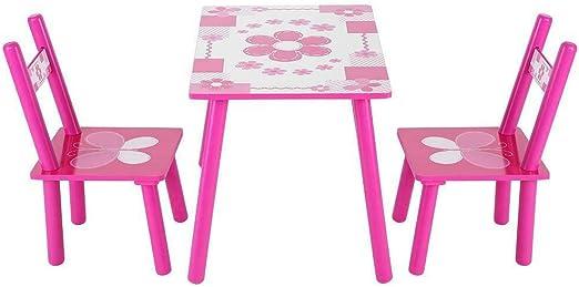 AdaLei - Juego de 3 sillas de Madera para niñas, Juego de Mesa y ...
