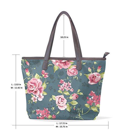 M Classico Grandi Bags Cuoio Modello Maniglia Pu Muticolour Tote Cm Coosun Fiore Dimensioni Shoulder Di D'epoca Bag 40x29x9 wdxqA1A46