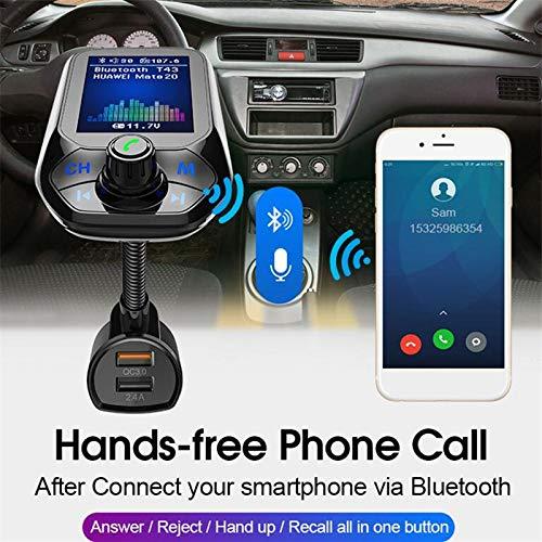 Lettore MP3 per Auto Wireless Accendisigari Caricatore a Mano Libera Riproduci Musica Telefonata Cancellazione del Rumore CVC ETbotu Trasmettitore FM per Auto