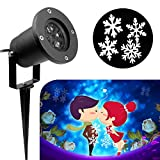 KOOT Snowflake Light, White Moving Snowflake Outdoor Waterproof LED Light Projector Vanlentine's Day Decoration for Landscape Garden Holiday Party Decoration