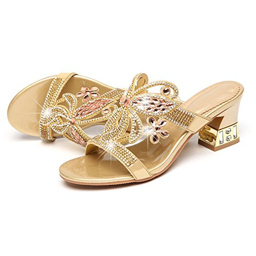 Sandali Out Scarpe eu36uk4 Con Pantofole Da Thick Golden Wear Highxe uk4 With Estate Eu36 Leather New Donna Donna Strass E wYOq7Af