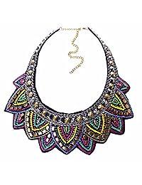 Qiyun National Multicolor Bib Chain Statement Casual Necklace Choker Casual Multicolore Nationale Collier