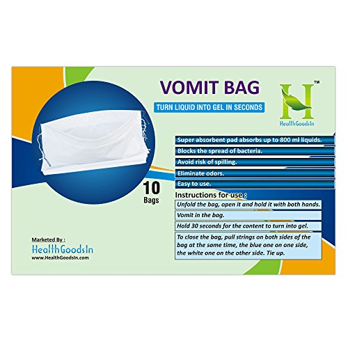 Disposable Vomit Bag with Absorbent PAD for Traveling | for Adults and Children | Motion Sickness Bag | Vomit Bag for Pregnant Women (Pack of 10 Bags) by HealthGoodsIn