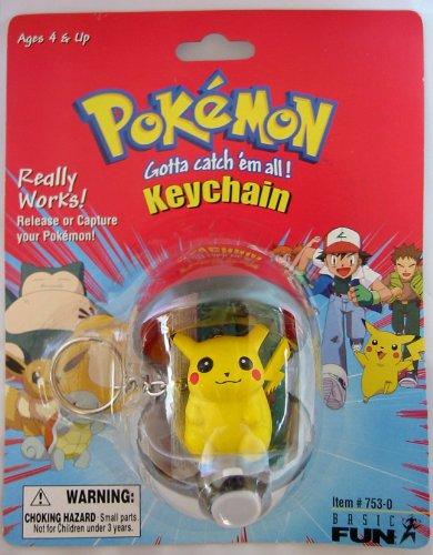 Basic Fun Pokemon Pokeball Keychain Capture and Release -