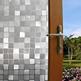 Gosear Decorative Frosted Window Glass Film,window glass film privacy 3D Effect Static Clings Protecting Privacy For Every Room In Home And Office, Mosaic Style