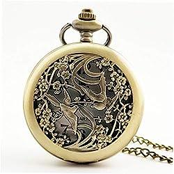 Unique Flower Carved Vintage Antique Round Dial Quartz Pocket Watch Necklace Pendant Clock for Mens Womens Best Gifts