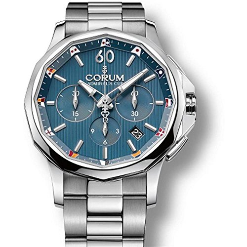 Mens Corum Admiral's Cup Challenge Chronograph 42mm Steel Automatic COSC Watch 984.101.20/V705 AB10
