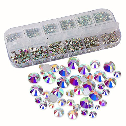 Petift 3214 Pieces Nail Art Rhinestones AB Crystals/Round Beads Flatback/Glass Charms Gems Stones with Storage Box,9 Mixed Sizes SS3 4 5 6 8 10 12 16 20 for DIY Crafts Makeup Phone Case Clothes Shoes