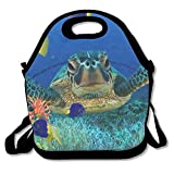 Dozili Sea Turtle Underwater Flora Fish Large & Thick Neoprene Lunch Bags Insulated