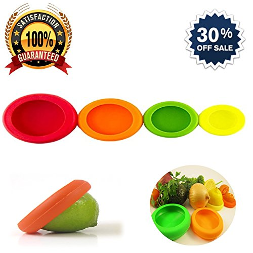 Silicone Food Savers Storage Covers Set of 4 Perfect For Saving Second Half Of Your Fruits And Vegetables, Fruit Is Kept So Fresh