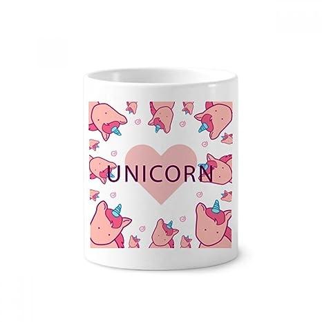Taza de cerámica con diseño de unicornios y corazones rosas, 350 ml