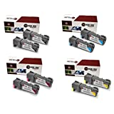 Laser Tek Services® Xerox 6500 8 Pack High Yield Compatible Replacements (2x 106R01597 Black,2x 106R01594 Cyan,2x 106R01595 Magenta,2x 106R01596 Yellow). For use in the Xerox Phaser 6500, 6500N, 6500DN, Work Centre 6505