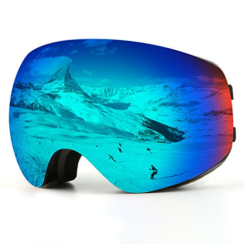 Ski Goggles, Snow Goggles Snowboard Over Glasses Goggles for Men, Women & Youth - UV400 Protection and Anti-Fog - Double Grey Spherical Lens Comfortable for Skating Skiing Snowmobiles - - Glasses Snow