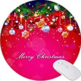 Mouse Pad,Anti Slip Mouse Mat for Desktops Computer PC and Laptops Customized Round Mousepad for Office Home and Travel-Merry Christmas 2