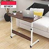 HPLL Laptop Table Folding Computer Desk, Movable Belt Pulley, Small Table, Foldable Desk, Bedside Computer Desk, Office Desk, Lift Adjustable (Color : D, Size : 80x40x94-72cm)