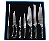 kitchen 67 Artigee 7 Pc Professional Japanese 67 Layer VG-10 Damascus Steel Kitchen Knives with High Carbon Steel Core, Chef Knife Set with Razor Sharp Blades and Triple Riveted Wood Handles, Premium Gift Box