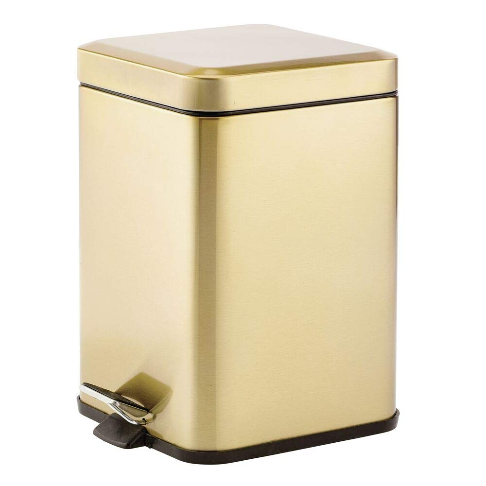 mDesign 1.5 Gallon Square Small Metal Step Trash Can Wastebasket, Garbage Container Bin for Bathroom, Powder Room, Bedroom, Kitchen, Craft Room, Office - Removable Liner Bucket - Soft Brass by mDesign