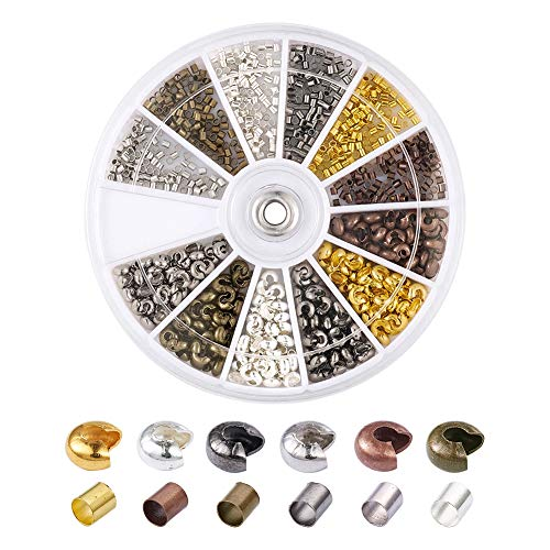Pandahall 1Box/900pcs Crimping Makings with 1.5mm Brass Tube Line Crimp Beads Clamp Tip & 3.2mm Brass Open Half Round Crimp Beads Cover Antique Bronze & Red Copper & Black & Silver & Golden & Platinum