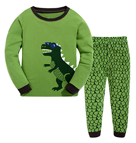 ANTSANG Kids Little Boys Girls Cute Dinosaur Pajamas Set Cotton Toddler Clothes Pjs Children Sleepwear (Cute Dinosaur (Green), 3 Years Old)