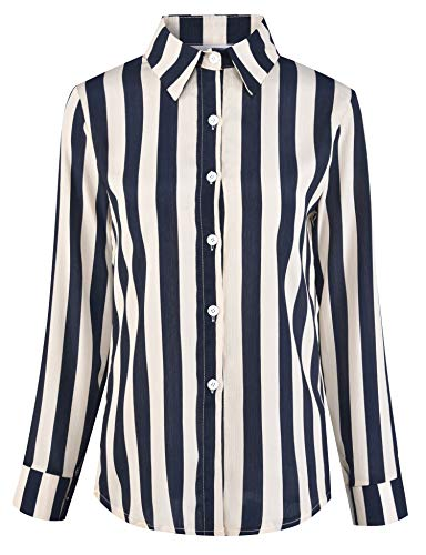 - Women's Button Down Shirts Tops Striped Long Sleeve Point Collar Office Work Blouse Chiffon