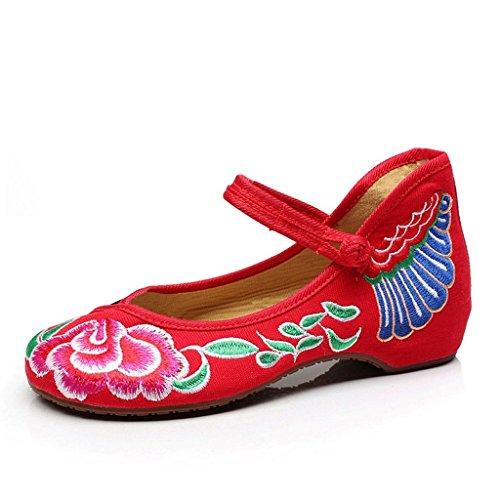 de de Negro Zapatos Jane flores bordados 34 de transpirables Rojo ocasionales planos Tamaño mujeres Zapatos para tela Zapatos Color Mary RBB0wx