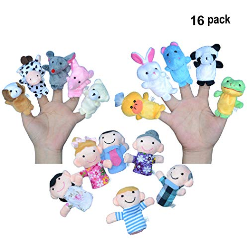 Sawaruita Finger Puppets for Children, Velvet Cute Animal and Family Style, Shows, Playtime, Schools Dolls Props Toys - 16 Different -
