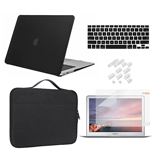 Macbook 12 Inch Retina Case Bundle 5 in 1,iCasso Ultra Slim Rubber Coated Plastic Cover With Canvas Sleeve,Screen Protector ,Keyboard...