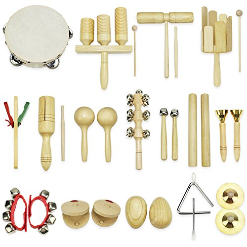 Musical Instruments for Toddlers Early Childhood iPlay iLearn 28 PC Percussion Set Cymbals Triangle with striker Rhythm Sticks Tambourine Maracas Castanets Bell Shakers Clacker-NEW VERSION July 2017