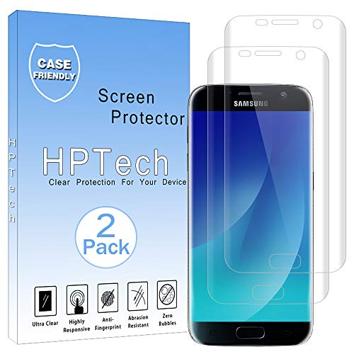 HPTech Galaxy S7 Screen Protector - [2-Pack] for Samsung Galaxy S7 [Full Coverage] Screen Protector Film HD Clear Anti-Bubble Free with Lifetime Replacement Warranty