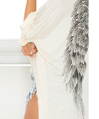 Tricot Coat Eagles Outwear Hrph Batwing Lache Imprimer Wings Manches Manteau Blanc Top Casual Femme Longues Pull qq6FURX