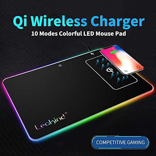 Click to buy Qi Wireless Charging Mouse Pad for Gaming,Lighting Big Hard LED Computer Mice Mat,Gamer Mouse Pads,for iPhone X/8 /8 Plus,Samsung Note 8/S8/S7/S6/Edge,watch,ect.14.8x11.9 Inches,Waterproof & Fireproof - From only $69