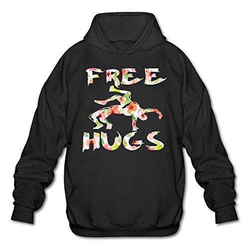 LuckyPowerMen Free Hugs Youth Wrestling Gift Flower Men's Cotton Fashion Durable Vintage Warm Fall/Winter Hoodie by LuckyPowerMen