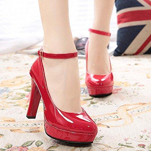 pintura Profesional Grueso como Calzado Alta Qiqi Solo Boda Rojo Zapatos cuero roja de Negro Zapatos El con único Xue de Impermeable de Ultra Cabeza Zapatos Mujer Correa Redonda xwZqFZX