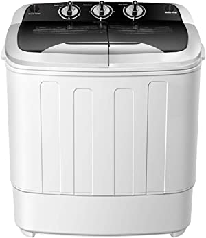 Portable Washer and Dryer Combo,SAFEPLUS Compact Mini Twin Tub Versatile Washing Machine with 8 lbs Washing &5 lbs Spin Dryer Load Cappacity Gravity Drain Pump and Drain Hose for Apartment (Black)