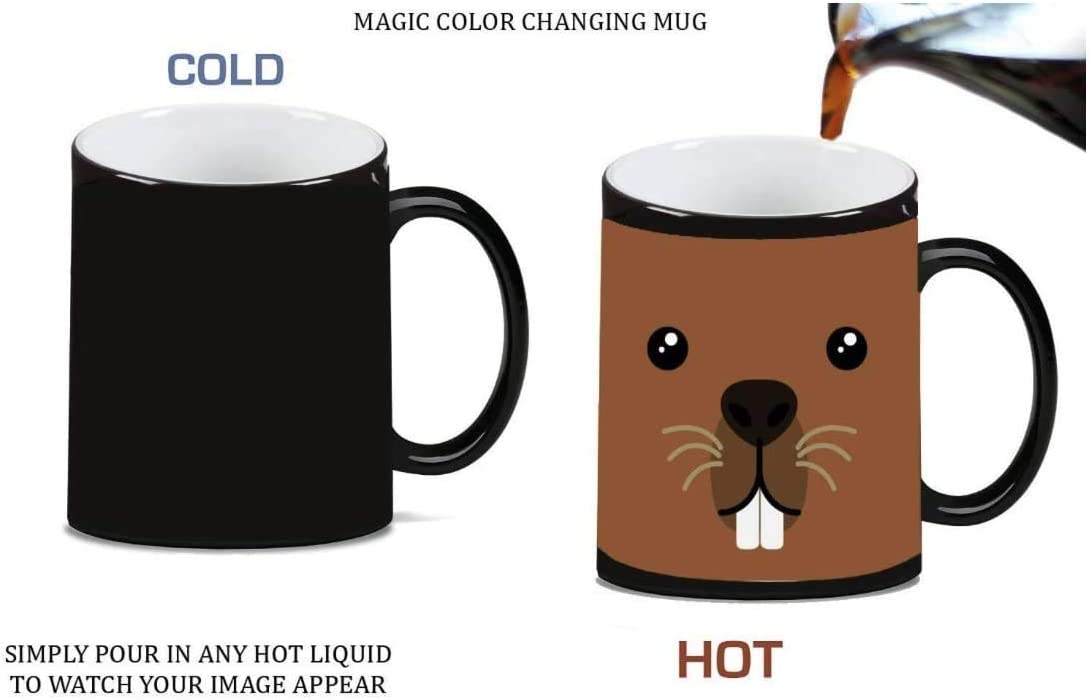 Beaver Face Cute Magic Color Morphing Ceramic Coffee Mug Tea Cup By Moonlight Printing Kitchen Dining
