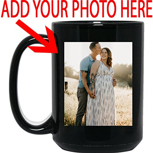 Personalized Coffee Mug for Father Day - Add Your Photo/Logo to Customized Travel, Beer Mug - Great Quality for Gift (Black, 15 oz) ()