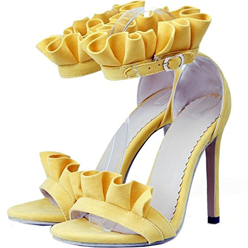 TAOFFEN Women Ankle Strap Sandals Shoes Stiletto Yellow tH58WE5