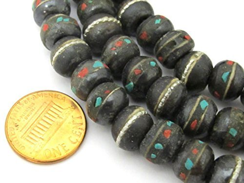 50 beads - 10 - 11 mm size Tibetan black brown color bone mala beads with turquoise coral inlay- ML040B BeadsofNepal