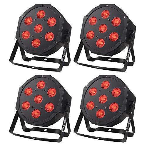 LED Stage Lights Package, 7LEDs x 10W LED Par Lights 4-in-1 RGBW LED Stage Wash Lights by Power Linking Sound Activated and LED DMX Wash Lights for Wedding DJ Christmas Party Stage Lighting (4 PCS)