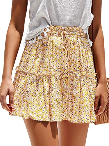 Season 4 Women's Floral Print Ruffle Skirt High Waist A Line Mini Skirts with Drawstring Yellow,L