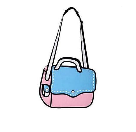 2a07af202b Nuobo 3D Jump Style 2D Drawing from Cartoon Paper Bag Messenger Bag Comic Women  Shoulder Bag