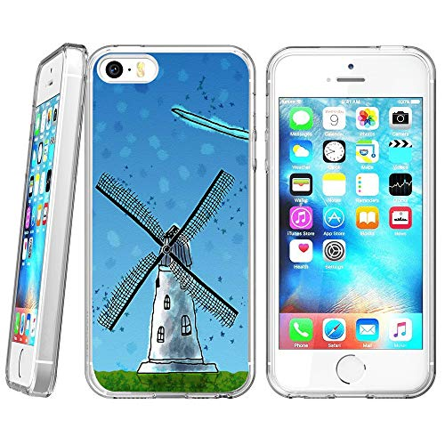Crystal Clear Pinwheel - iPhone SE 5s 5 Case,Windmill Case for iPhone SE 5s 5,Pinwheel Pattern Design Crystal Clear Protective Case