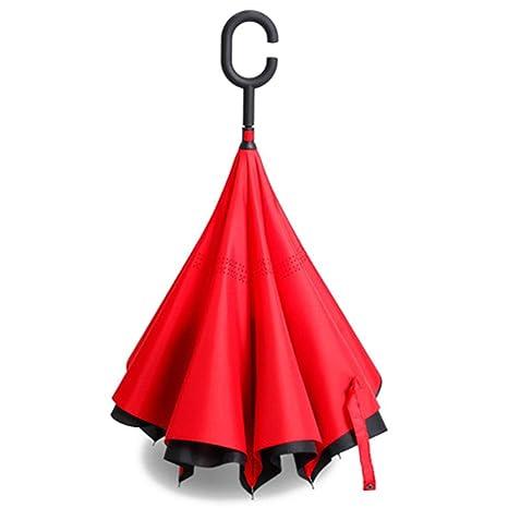 Zomtop innovador invertido paraguas de doble capa revés paraguas de la lluvia de agua recogidas Bumbershoot