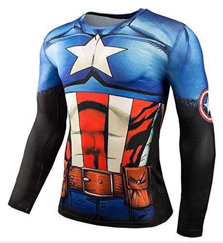 HIMIC E77C Hot Movie Super Hero Quick-Drying ElasticT-Shirt Costume (XX-Large,Captain 2) -