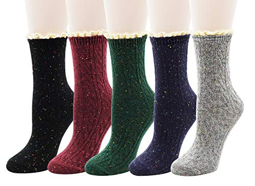 Woman Ruffle Trim (Bellady Women's Lady's Lace Ruffle Frilly Cotton Ankle Socks Knit Novelty Crew Socks 5 Pairs,MultiColor 4)